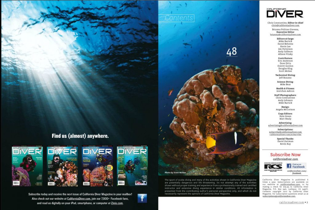 Right side reef photo, Cabo Pulmo - California Diver Magazine, May-June 2012 issue