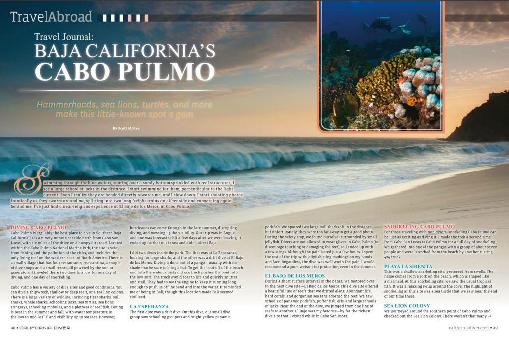 Full article and photos, Cabo Pulmo - California Diver Magazine, May-June 2012 issue