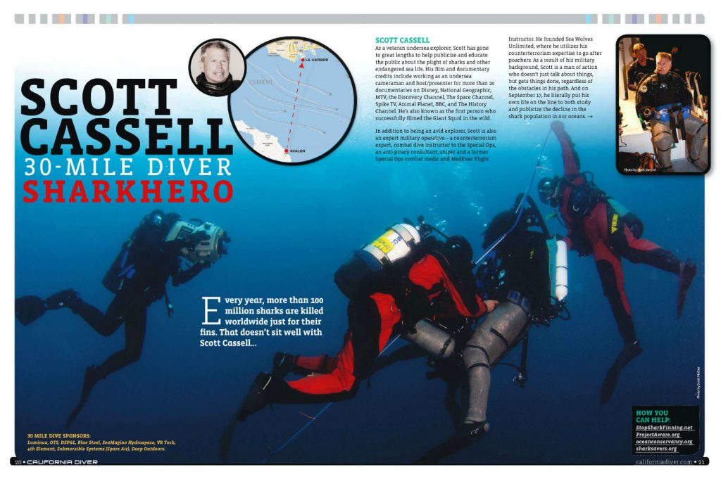 Large underwater photo of Scott Cassell on 30 Mile Dive attempt - California Diver Magazine, Nov-Dec 2011 issue