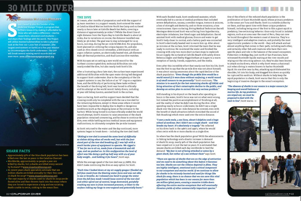 Left underwater photo of Scott Cassell on 30 Mile Dive attempt - California Diver Magazine, Nov-Dec 2011 issue