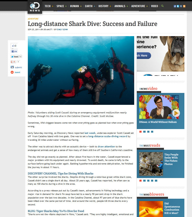 Photo of Scott Cassell on 30 Mile Dive attempt - Discovery.com News, September 25, 2011