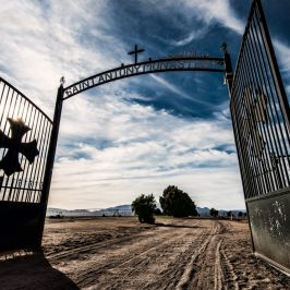 The intimidating gates at the entrance to St Antony's Coptic Monastery in Newberry Springs, CA.