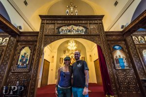 CrtrGrl & Scott inside the main sanctuary of St Antony's Coptic Monastery. Photo by Father Anastazi.