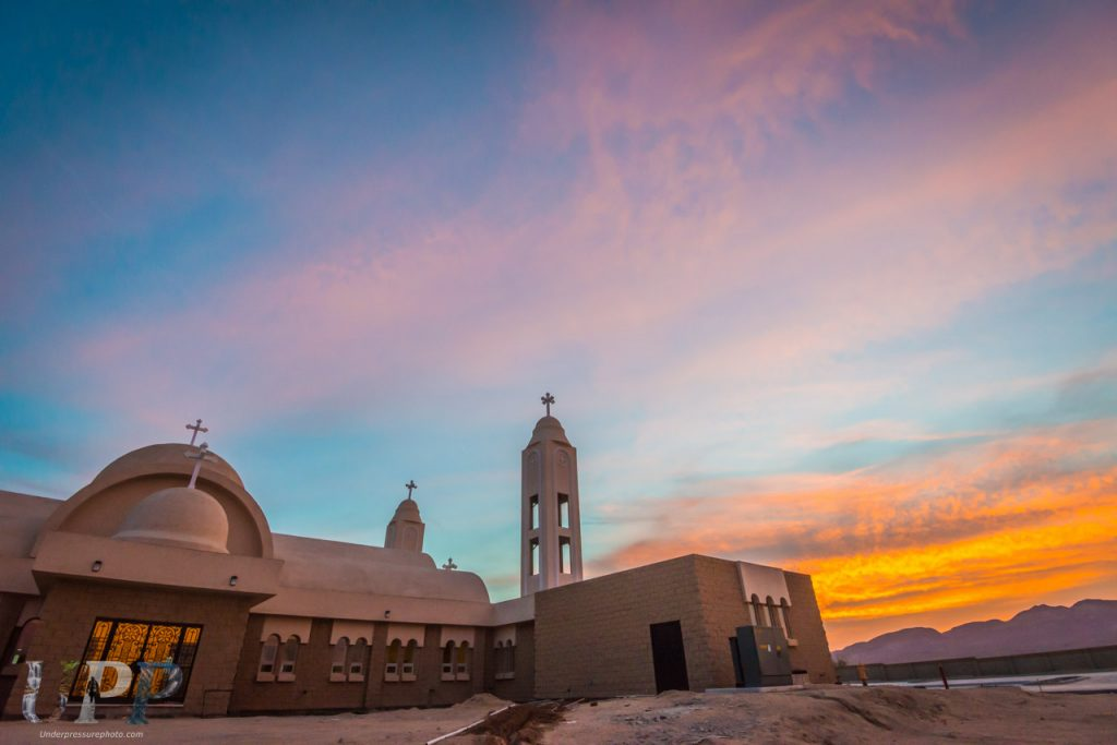 The sun is setting as we leave St Antony's Coptic Monastery.