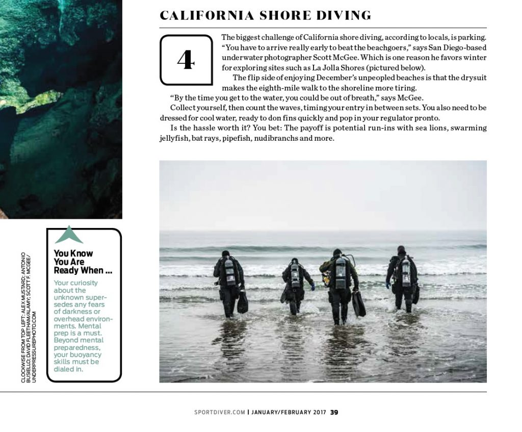 "My divers photo is featured in the Sport Diver Magazine article on ""50 Ways to Challenge Yourself""."