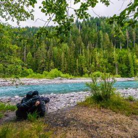 CrtrGrl and I at our final campsite along the Hoh River in Lewis Meadows, Olympic National Park, WA.