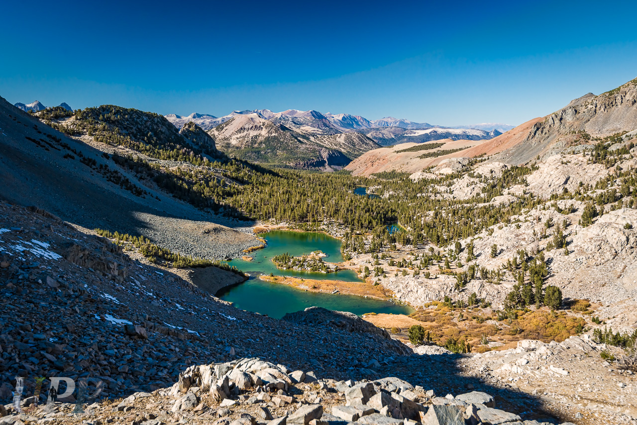 Duck Lake Pass view of Barney Lake and Mammoth Mountain, CA